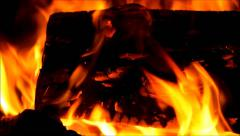 Detail of the flames in a fireplace - stock footage