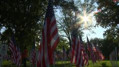 Flags Fallen Heroes 5 tilt Stock Footage