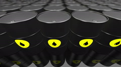 A Group of black oil barrels. Loopable. Stock Footage