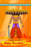 Stock Illustration of Ravan in Dussehra advertisment and promotion poster