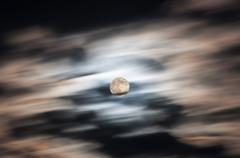 sky clouds moon sunset - stock photo