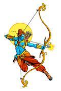 Lord Rama with bow arrow killimg Ravana Stock Illustration