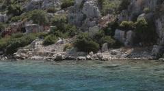 Sunken city along the coast of Turkey Stock Footage
