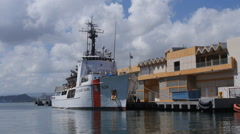 USCG Decisive - patrol cutter ship in Pier 1 - Old San Juan Stock Footage
