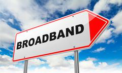 Broadband  on Red Road Sign. - stock illustration