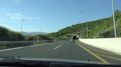 4K Driving Car on Highway, Roadway, Tunnel, Subway, Driver Traveling Traffic Pov Stock Footage