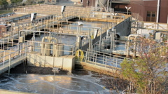 Sewage treatment plant  cleaning the city water Stock Footage