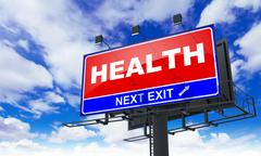 Health Inscription on Red Billboard. - stock illustration