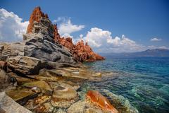 Red rocks of arbatax, sardinia Stock Photos