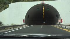Driving Car on Highway, Roadway, Tunnel, Subway, Driver Traveling, Traffic Pov - stock footage