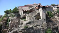 Meteora Orthodox Ancient Monasteries, Churches in Greece, Landmark, Tourists, 4K Stock Footage