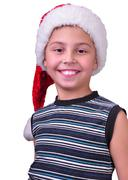Child with santa claus red hat Stock Photos
