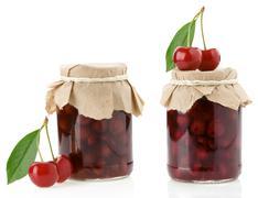 cherry jam isolated on white - stock photo