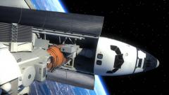 Space Shuttle And Space Station Orbiting Earth - stock footage