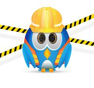 blue bird wit construction outfit - stock illustration
