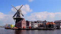 Windmill De Adriaan in Haarlem, Netherlands. Stock Footage