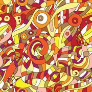 Stock Illustration of orange ornament - seamless pattern dudling