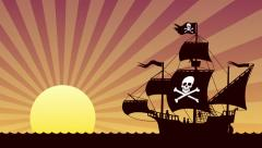 Looping animation of pirate ship at sunset Stock Footage