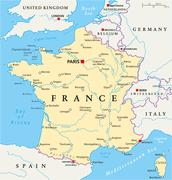 France Political Map - stock illustration