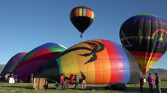 Hot Air Balloon launch takeoff farm field 4K 034 Stock Footage