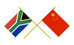 flags, china and south africa - stock illustration