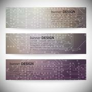 Set of horizontal banners. Microchip backgrounds, electronics circuit, EPS10 Stock Illustration