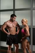 beautiful athletic couple after training - stock photo