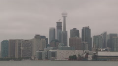 Low ceiling of clouds blocking Toronto skyline and CN tower Stock Footage