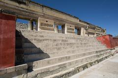 stairs leading to zapotec temple in mitla - stock photo