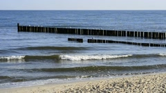 Groin in the Baltic Sea with gulls Stock Footage