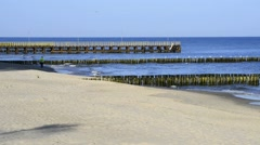 Baltic Sea in Poland, beach of Udine Morskje - stock footage