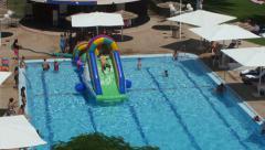 Inflatable pool slide Stock Footage