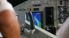 Cockpit inside. Hands pilots run gadgets of seaplane. Video with sound. Stock Footage