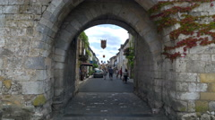 Stone portal entrance - Monpazier, Aquitaine France - HD 4K+ Stock Footage