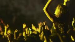 concert people crowd fans hands in the air  03 - stock footage