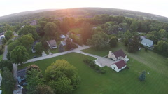 Sunset over Ann Arbor, Michigan aerial view Stock Footage