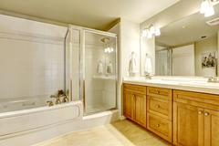 spacious bathroom with bath tub and shower - stock photo
