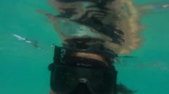 Girl with snorkel and mask to the camera Stock Footage