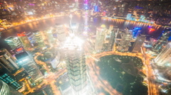 4k resolution Super wide aerial view of Shanghai skyline Stock Footage