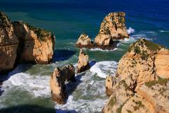 ponta de piedade in lagos, algarve region, portugal - stock photo