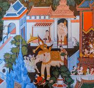 Thai mural painting of the life of buddha Stock Illustration