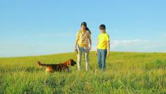 Children and dog walking in the field, childhood, together Stock Footage