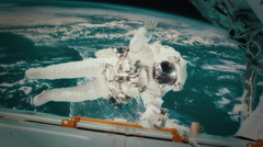 Astronaut on a manned mission to the international space station Stock Footage