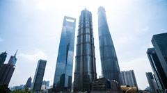 4k resolution Three biggiest office buildings in Shanghai Stock Footage