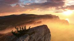 Timelapse sunrise in the mountains Ai-Petri. Alupka, Crimea, Russia. FULL HD Stock Footage
