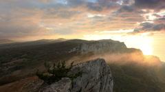 Timelapse sunrise in the mountains Ai-Petri. Alupka, Crimea, Russia. FULL HD - stock footage