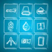 Sketch vector icons for Ice Bucket Challenge Stock Illustration