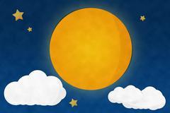 full moon night and starry - stock illustration