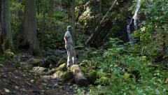 Stock Video Footage of Adventurer in the forest near waterfall
