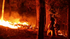 Fire Fighters setting a back burn in forest fire Stock Footage